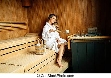 bonito, sauna, mulher, finlandês, sentando