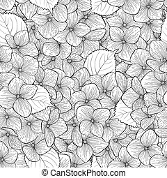 bonito, seamless, flowers., experiência preta, branca, monocromático