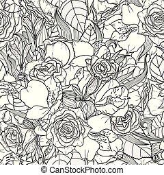 bonito, seamless, fundo, floral, monocromático, flores