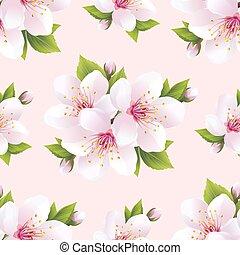 bonito, seamless, padrão, com, flores, sakura