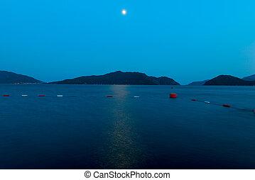 bonito, seascape, lua, sob, noturna