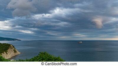 bonito, seascape, tempo, baía, lapso tempo, pre-storm,...