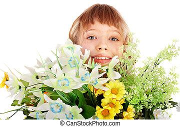 bonito, selvagem, menina, flower.