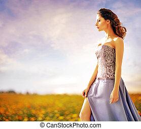 bonito, senhora, andar, ligado, a, verão, campo