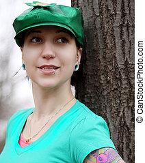 bonito, senhora, chapéu verde