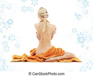 bonito, senhora, com, laranja, toalhas, e, snowflakes, #2