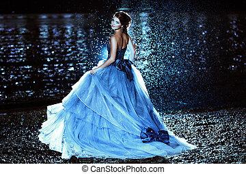 bonito, senhora, em, vestido azul