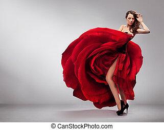 bonito, senhora jovem, desgastar, rosa vermelha, vestido