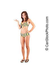 bonito, senhora jovem, em, swimsuit