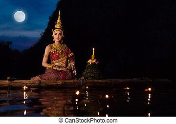 bonito, sentando, festival, tailandês, tradicional, krathong, asiático, jangada, flutuante, loy, vestido, menina