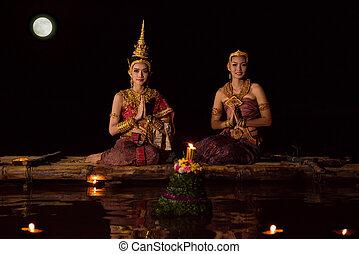 bonito, sentando, festival, tradicional, krathong, asiático, jangada, tailandês, loy, vestido, flutuante, mulheres