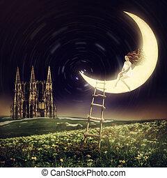 bonito, sentando, mulher, lua