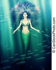 bonito, sereia, mar, mulher