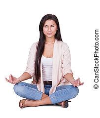 bonito, sereno, mulher meditando