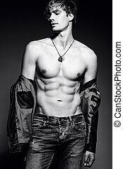 bonito, seu,  abdominal, ajustar, mostrando, jovem, músculos, estúdio,  muscled, modelo, macho, posar, homem