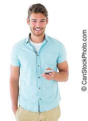 bonito, seu, usando, homem, jovem, smartphone