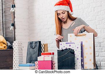 bonito, shopping, após, agradável, ir, menina