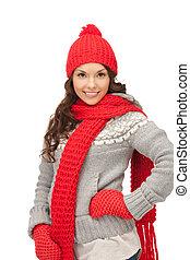 bonito, silenciador, mulher, chapéu, mittens