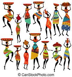 bonito, silhuetas, africano, mulheres