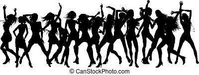 bonito, silhuetas, mulheres, dançar