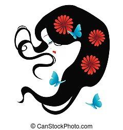 bonito, silueta, de, um, menina, com, flores, em, dela, cabelo