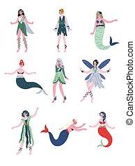 bonito, sirenas, fadas, sereias, ninfas, vetorial, ilustração, cobrança, floresta