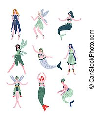 bonito, sirenas, jogo, fadas, sereias, ilustração, vetorial, ninfas, floresta