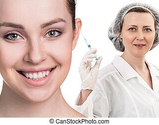 bonito, siringa, rosto, doutor mulher