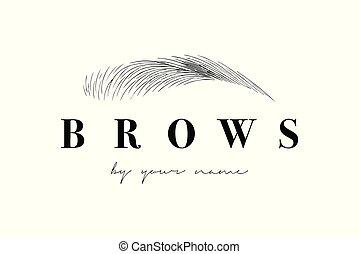bonito, sobrancelhas, negócio, mão, vetorial, mestre, logotipo, desenho, template., cartão, eyebrows.