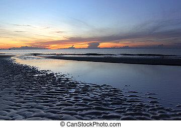 bonito, sobre, praia, amanhecer, mar