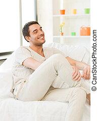 bonito, sofá, assento homem