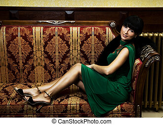 bonito,  sofá, morena, luxo, sentando