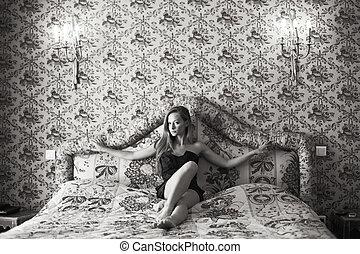 bonito, sofá, mulher