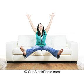 bonito, sofá, mulher sorridente, relaxante