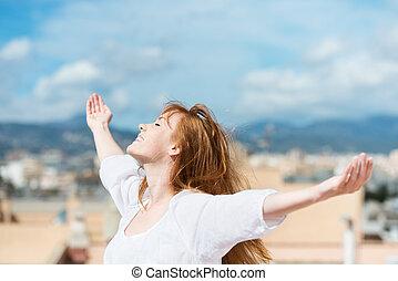 bonito, sol, mulher, rejoicing