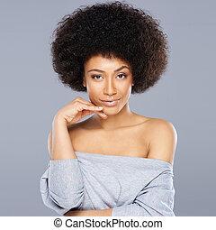 bonito, sonhador, mulher americana africana
