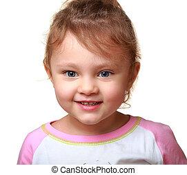 bonito, sorrindo, criança, menina, isolado, ligado, white., closeup, retrato