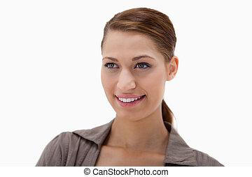 bonito, sorrindo, mulher jovem