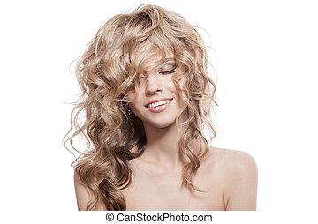 bonito, sorrindo, woman., saudável, longo, cabelo ondulado