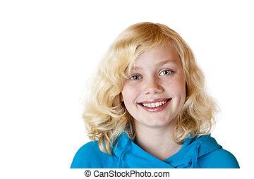 bonito, sorrisos, câmera., isolado, /, jovem, fundo, criança, menina, branca, feliz