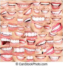bonito, sorrisos, e, teeth.