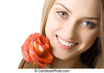 bonito, sorrizo, mulher, com, rosa, isolado