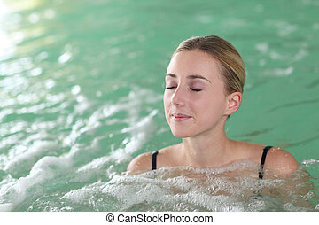 bonito, spa, banhar-se, mulher, piscina