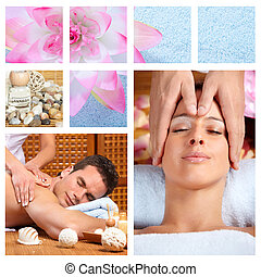bonito, spa, collage., massagem