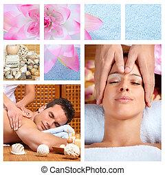 bonito, spa, collage., massagem
