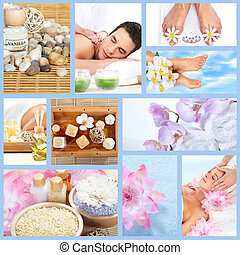 bonito, spa, massagem, collage.