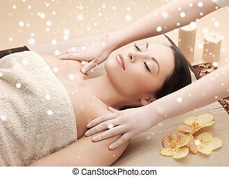 bonito, spa, mulher, massagem, obtendo
