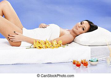 bonito, spa, mulher relaxando