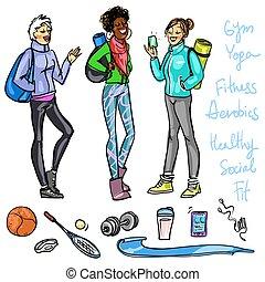 bonito, sporty, conversando, mulheres