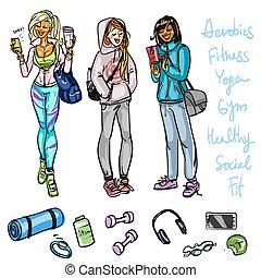 bonito, sporty, mulheres, conversando